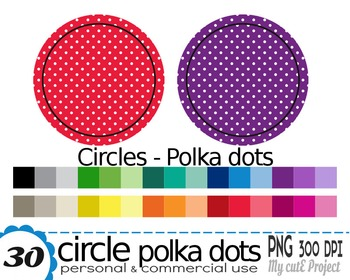 Circle with white Polka dots pattern -Clipart- 30 transparent PNG files