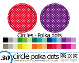 Circle with white Polka dots pattern -Clipart- 30 transpar