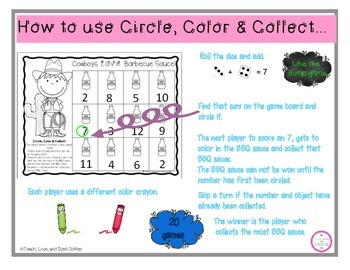 Circle,Color & Collect Math Game-Addition