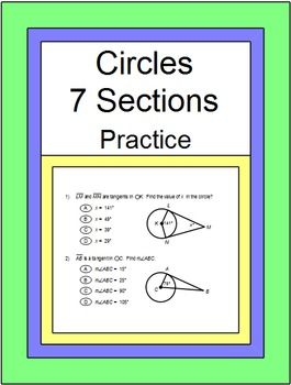 Circles - 7 Sections of Practice Problems
