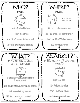 Circles Activity: Arc Measure, Arc Length, Congruent Chords & Arcs