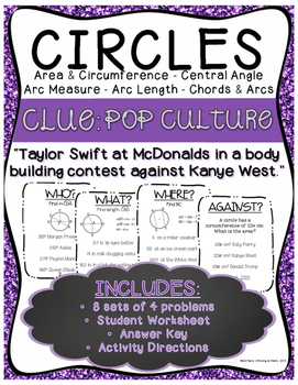 Circles Activity: Arc Measure, Arc Length, Congruent Chord
