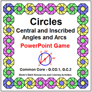 Circles - Central and Inscribed Angles and Arcs Powerpoint