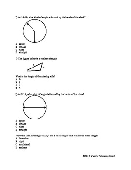 Circles, Angles, and Figures Assessments
