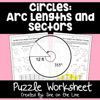 Geometry Circle Theorems: Arc Length and Sectors - Puzzle Worksheet