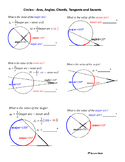 Circles - Arcs, Angles, Chords, Tangents and Secants