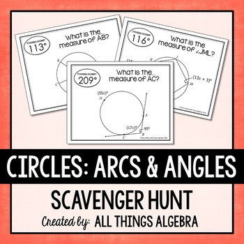 arcs and angles in circles scavenger hunt by all things algebra tpt. Black Bedroom Furniture Sets. Home Design Ideas