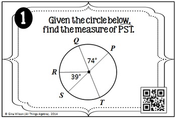 Central Angles, Arc Measures, and Arc Lengths in Circles Task Cards