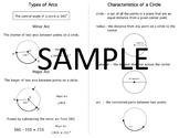 Geometry Quick Notes: Circles & Arcs (Characteristics, Minor & Major)
