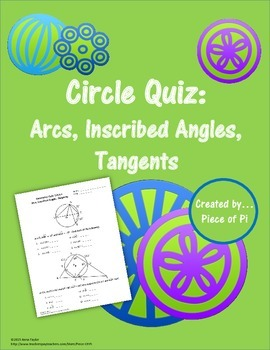 Circles Arcs Tangents Inscribed Angles Formative Assessment Quiz Geometry