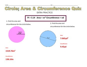 Circles Area & Circumference 3 Question Quiz