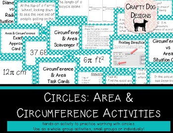 Circles: Area & Circumference Card Sorts and Activities -