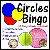 Circles Bingo - Geometry of Circles: Area, Circumference, Diameter, Radius