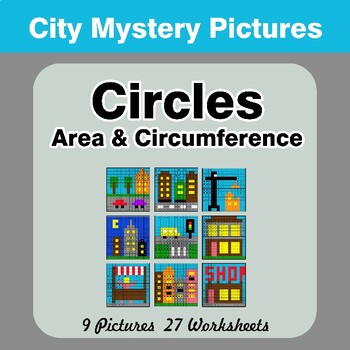 Circles Area & Circumference - Math Mystery Pictures / Color By Number - City