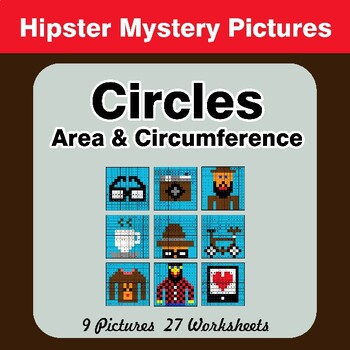 Circles Area & Circumference - Math Mystery Pictures - Hipsters