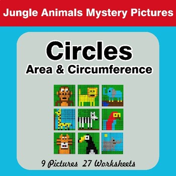 Circles Area & Circumference - Math Mystery Pictures - Jungle Animals