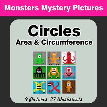 Circles Area & Circumference - Math Mystery Pictures - Monsters