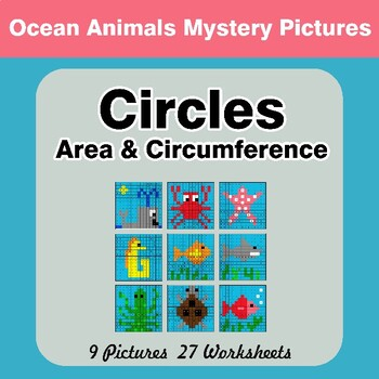 Circles Area & Circumference - Math Mystery Pictures - Ocean Animals