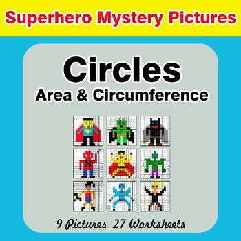 Circles Area & Circumference - Math Mystery Pictures - Superhero