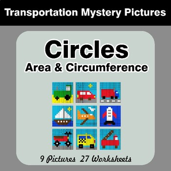 Circles Area & Circumference - Math Mystery Pictures - Transportation