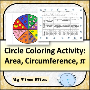 Circles: Area and Circumference Coloring Activity - Great for Pi Day!