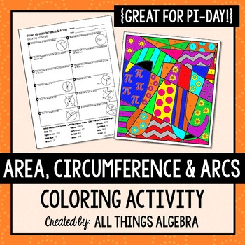 Finding area coloring activity teaching resources teachers pay activity area circumference and arc lengths of circles coloring activity fandeluxe Choice Image