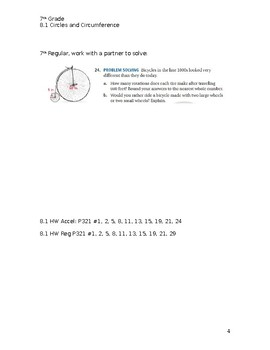 Circles & Area Guided Notes Big Ideas Math Red: 7th Grade Chapter 8