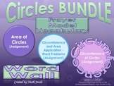 Circles (Area and Circumference) BUNDLE with Vocabulary