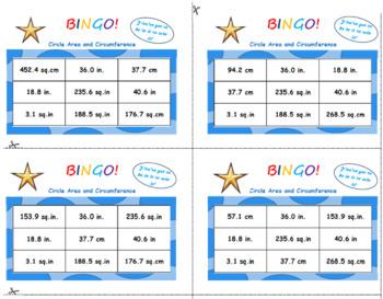 Circles: Area and Circumference Bingo Game Activity