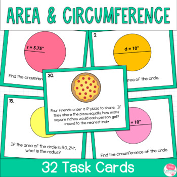 Circles Area And Circumference Task Cards By Hello Learning Tpt