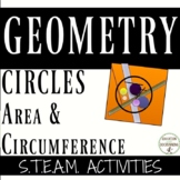 Area and Circumference of circles Activities with the art