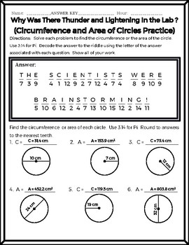 Circles - (BEGINNER) Circumference and Area of Circles Riddle Worksheet