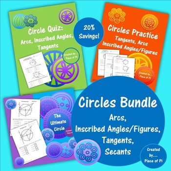Circles Bundle Arcs Insribed Angles Tangents Secants Quiz Practice