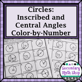 Circles - Central and Inscribed Angles Color-By-Number Worksheet
