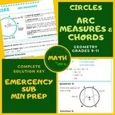 Circles: Chords & Arc Measures Handout Lesson Worksheet Di
