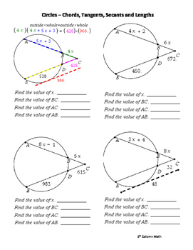 Circles – Chords, Tangents, Secants and Lengths