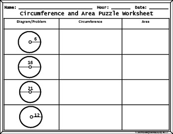 Circles: Circumference and Area (Pi) Cut, Paste, Solve, Match Puzzle Activity