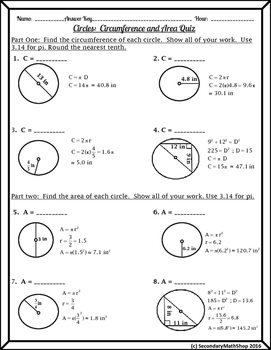 Circles - Circumference and Area Quiz