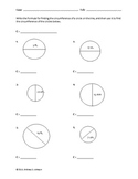 Circles - Circumference and Area