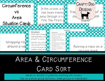 Circles: Circumference vs Area Situation Card Sort