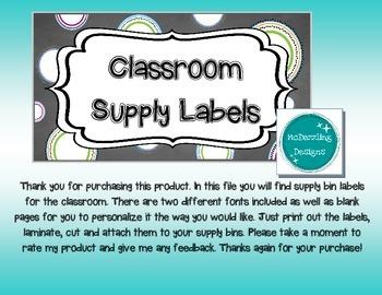 Circles Classroom Supply Bin Labels