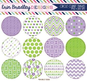 Circles Clipart - Purple & Green Digital Backgrounds