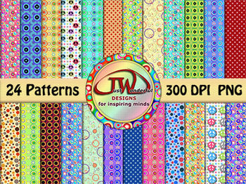 Backgrounds - digital papers - Multi Colors and Patterns