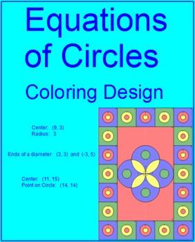 circles equations of circles 2 coloring activity tpt. Black Bedroom Furniture Sets. Home Design Ideas