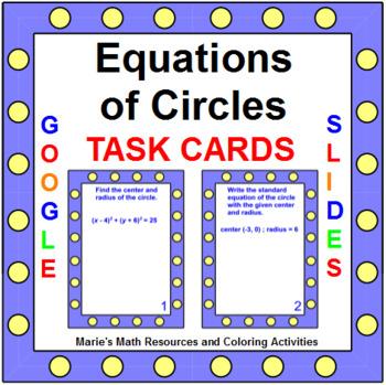 Circles - Equations of Circles TASK Cards (20 cards)