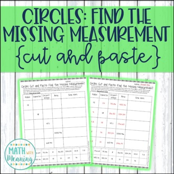 Circles: Find the Missing Measurement Cut and Paste Activi