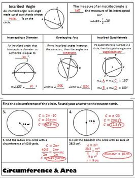 Circles Flipbook - Parts of a Circle and Angle Relationships