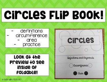 Circles Circumference Area Foldable Flipbook