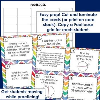 Circles Task Cards - Footloose (Pi Day Activity)