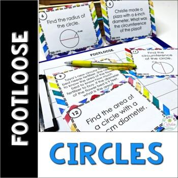 Circles Task Cards - Footloose Math Game   Pi Day Activity